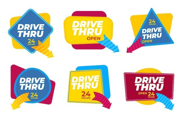 Zestaw kreatywnych znaków drive thru