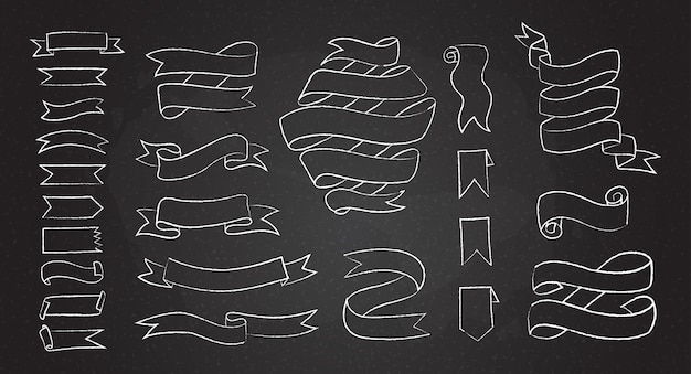 Zestaw kredą ręcznie rysowane banery i wstążki
