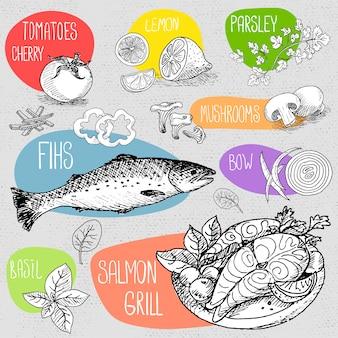 Zestaw kredy rysowane na tablicy żywności, przyprawy.