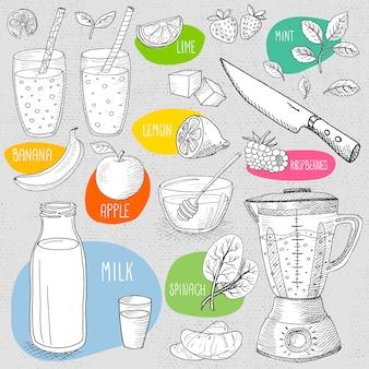 Zestaw kredy rysowane na tablicy żywności.