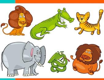 Zestaw kreskówek śmieszne postacie zwierząt