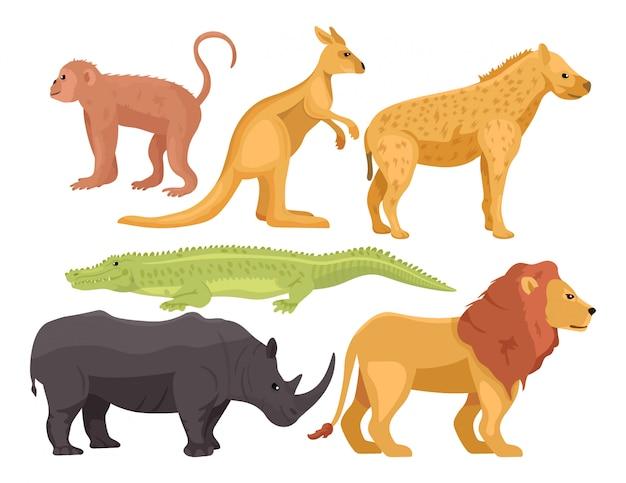 Zestaw kreskówek afrykańskich zwierząt. małpa, kangur, hiena, krokodyl, nosorożec, lew. koncepcja safari lub zoo.