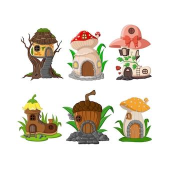 Zestaw kreskówek bajkowych domów