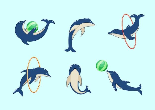 Zestaw kreskówek delfinów w różnych pozach.