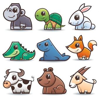 Zestaw kreskówek dzikich zwierząt