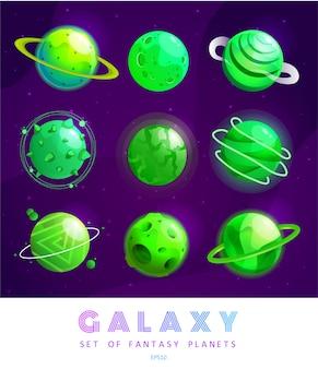 Zestaw kreskówek fantasy planet. kolorowy wszechświat. gra dla ui galaxy.