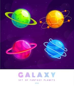 Zestaw kreskówek fantasy planet. kolorowy wszechświat. projekt gry do gry ui galaxy.