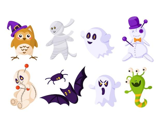 Zestaw kreskówek halloween - lalka voodoo, straszny duch, mumia, sowa w kapeluszu, zabawny potwór, pająk i nietoperz - wektor
