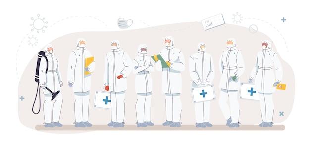 Zestaw kreskówek lekarzy i pielęgniarek w mundurach, fartuchach laboratoryjnych z zespołem urządzeń medycznych, różnymi pozami i osobami