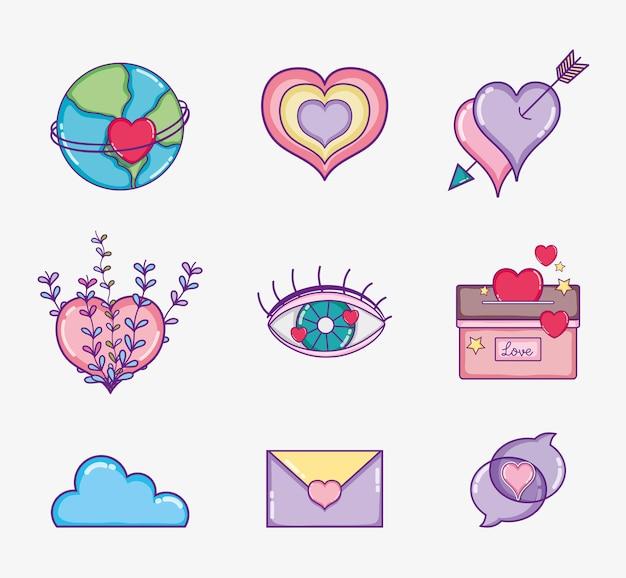 Zestaw kreskówek miłości i serca