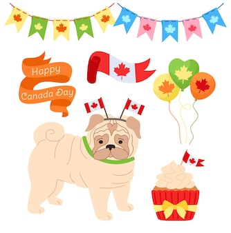 Zestaw kreskówek na dzień kanady, patriotyczny balon z mopsami, girlanda, wstążka, babeczka