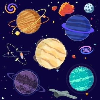 Zestaw kreskówek planet i elementów przestrzeni.