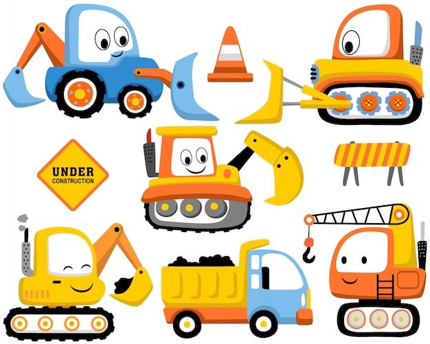 Zestaw kreskówek pojazdów budowlanych