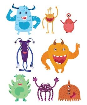 Zestaw kreskówek potworów. kolekcja szczęśliwych potworów. mityczne zwierzęta.