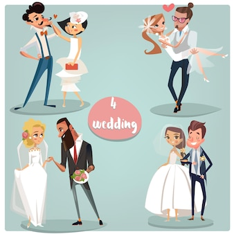 Zestaw kreskówek ślubnych: pary panny młodej i pana młodego