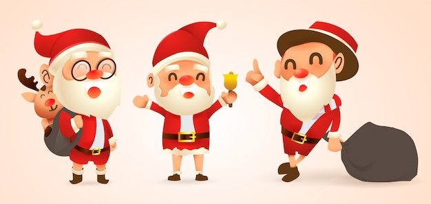Zestaw kreskówek świątecznych ilustracji