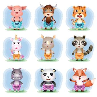 Zestaw kreskówek uroczych zwierzątek, postać ślicznej świni, jaka, tygrysa, jednorożca, nosorożca, szopa, hipopotama, pandy i lisa