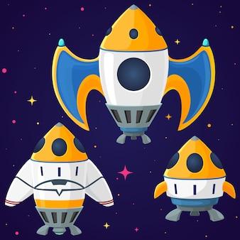 Zestaw kreskówek wektor statki kosmiczne i rakiety