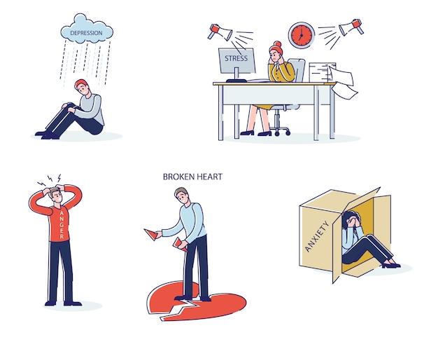 Zestaw kreskówek z chorobami psychicznymi mężczyźni i kobiety w depresji przepracowani lub lęk