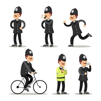 Zestaw kreskówka angielski policjant