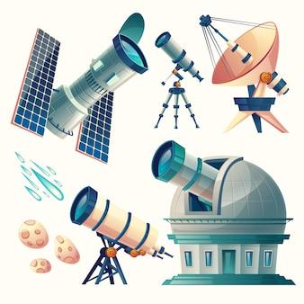 Zestaw kreskówka astronomia. teleskopy astronomiczne - radiowe, orbitalne.