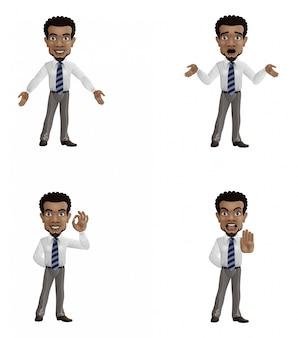 Zestaw kreskówka biznesmen z innym gestem