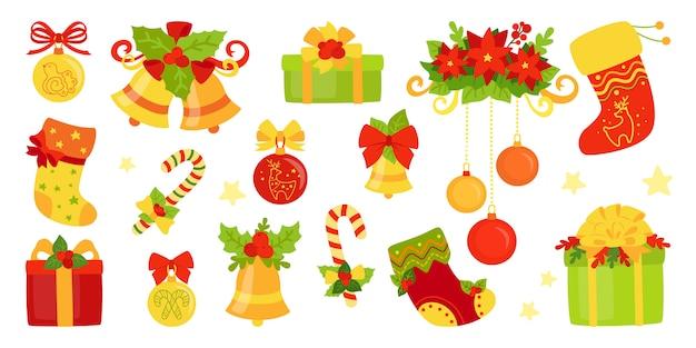 Zestaw kreskówka boże narodzenie i nowy rok. prezent holly and bells, świeca lizak, jemioła. kolekcja obiektów nowego roku. ilustracja na białym tle