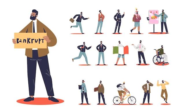 Zestaw kreskówka brodaty biznesmen zbankrutował w różnych sytuacjach życiowych i pozach: z dzieckiem, ubranym w garnitur, spóźnionym do pracy, rosnącym rowerem lub wózkiem inwalidzkim. płaska ilustracja wektorowa