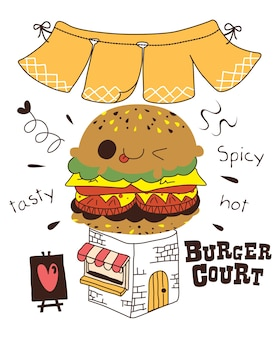 Zestaw kreskówka burger