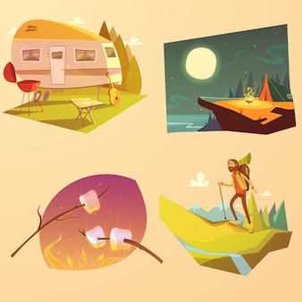 Zestaw kreskówka camping i piesze wycieczki