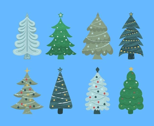 Zestaw kreskówka choinki, sosny na kartkę z życzeniami, zaproszenie, baner, sieć. nowy rok i boże narodzenie tradycyjne drzewo symbol z girlandami, żarówką, gwiazdą. zimowe wakacje. płaska konstrukcja.