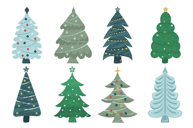Zestaw kreskówka choinki, sosny na kartkę z życzeniami, zaproszenie, baner, sieć. nowy rok i boże narodzenie tradycyjne drzewo symbol z girlandami, żarówką, gwiazdą. zimowe wakacje.