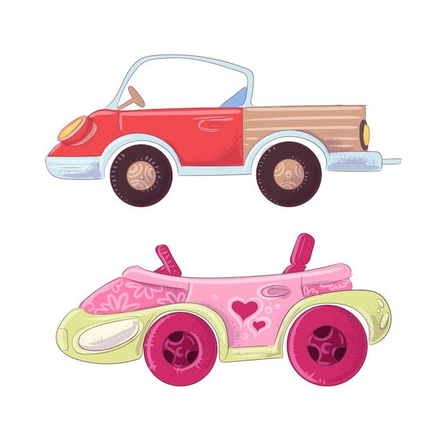 Zestaw kreskówka ciężarówka i kabriolet dla dzieci ilustracja