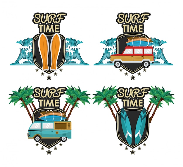 Zestaw kreskówka czasu surfingu