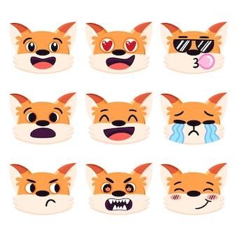 Zestaw kreskówka czerwony lis emocje różne wyrazy twarzy śmiejąc się w miłości zły płacz smutny fajny zakłopotany