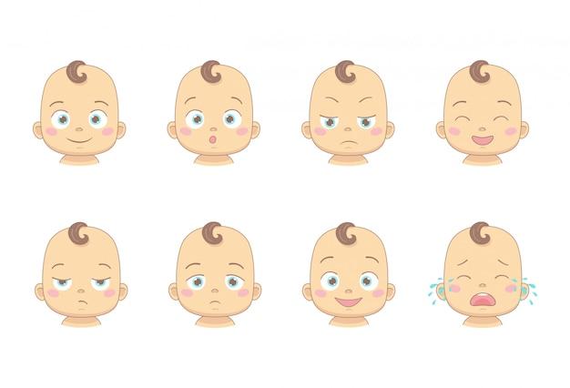 Zestaw kreskówka dla dzieci lub malucha z różnych zabawnych emocji w postać z kreskówki płaska konstrukcja. śliczne dzieci z uśmiechniętą, zaskoczoną, smutną, śmiejącą się, niezadowoloną, smutną i płaczącą twarzą.
