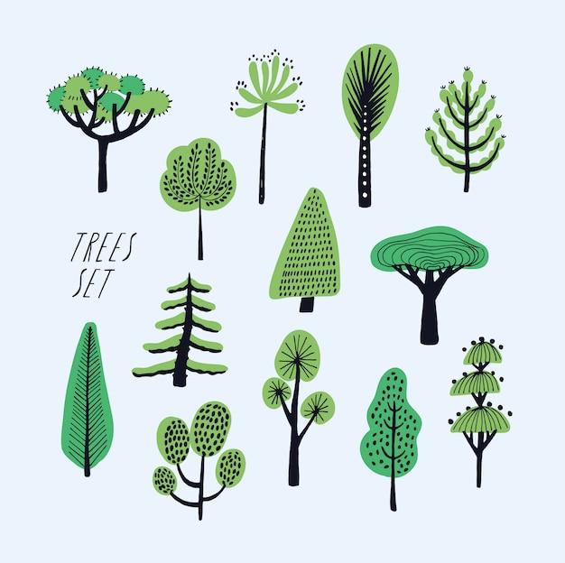 Zestaw kreskówka doodle drzew. piękna, ręcznie rysowane dziecinna, prymitywna kolekcja ilustracji stylu.