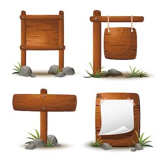 Zestaw kreskówka drewniane deski lub szyldy