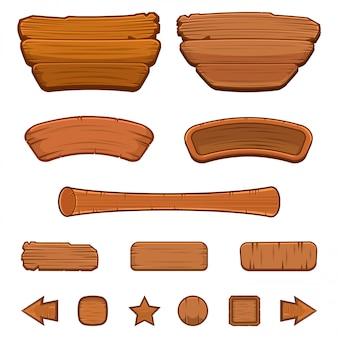 Zestaw kreskówka drewniane przyciski o różnych kształtach do tworzenia interfejsu użytkownika gry (gui), ilustracji