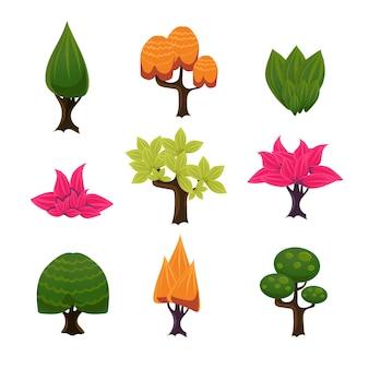 Zestaw kreskówka drzew, liści i krzewów
