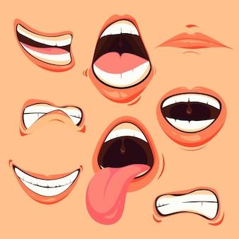 Zestaw kreskówka dynamiczne różne wyrazy twarzy usta.