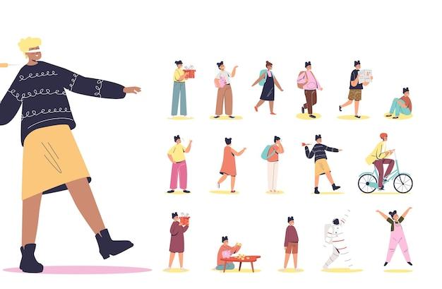 Zestaw kreskówka dziewczyna z zawiązanymi oczami, zamknięte oczy, chodzenie ubrania w różnych sytuacjach życia i pozach: przytrzymaj pudełko, ucz się w szkole, jeździj na rowerze, płacz. płaska ilustracja wektorowa