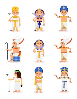 Zestaw kreskówka egipskich faraonów i królowych. władcy starożytnego egiptu. mężczyźni i kobiety mają tradycyjne stroje i nakrycia głowy