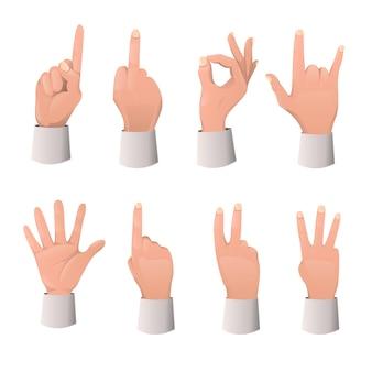 Zestaw kreskówka gest ręki
