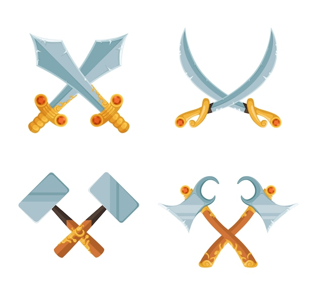 Zestaw kreskówka gry projekt skrzyżowane miecz
