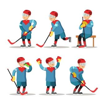 Zestaw kreskówka hokeista