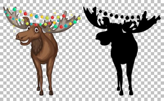 Zestaw kreskówka jelenia i jego sylwetka