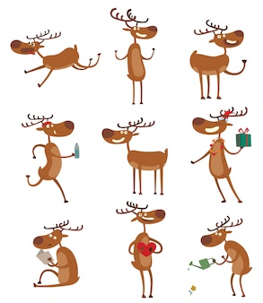 Zestaw kreskówka jelenia.