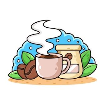 Zestaw Kreskówka Kawy. Premium Wektorów