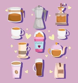 Zestaw kreskówka kawy